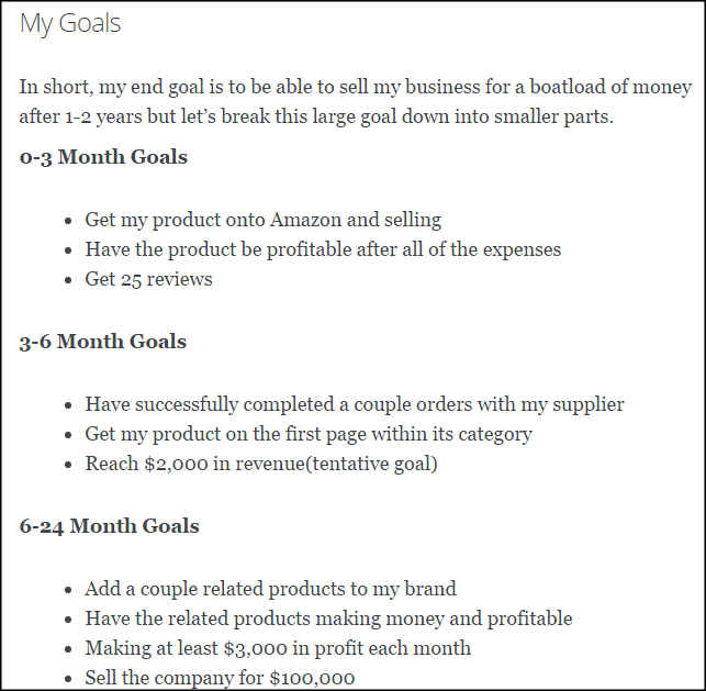 A Sample Amazon FBA Business Plan Template